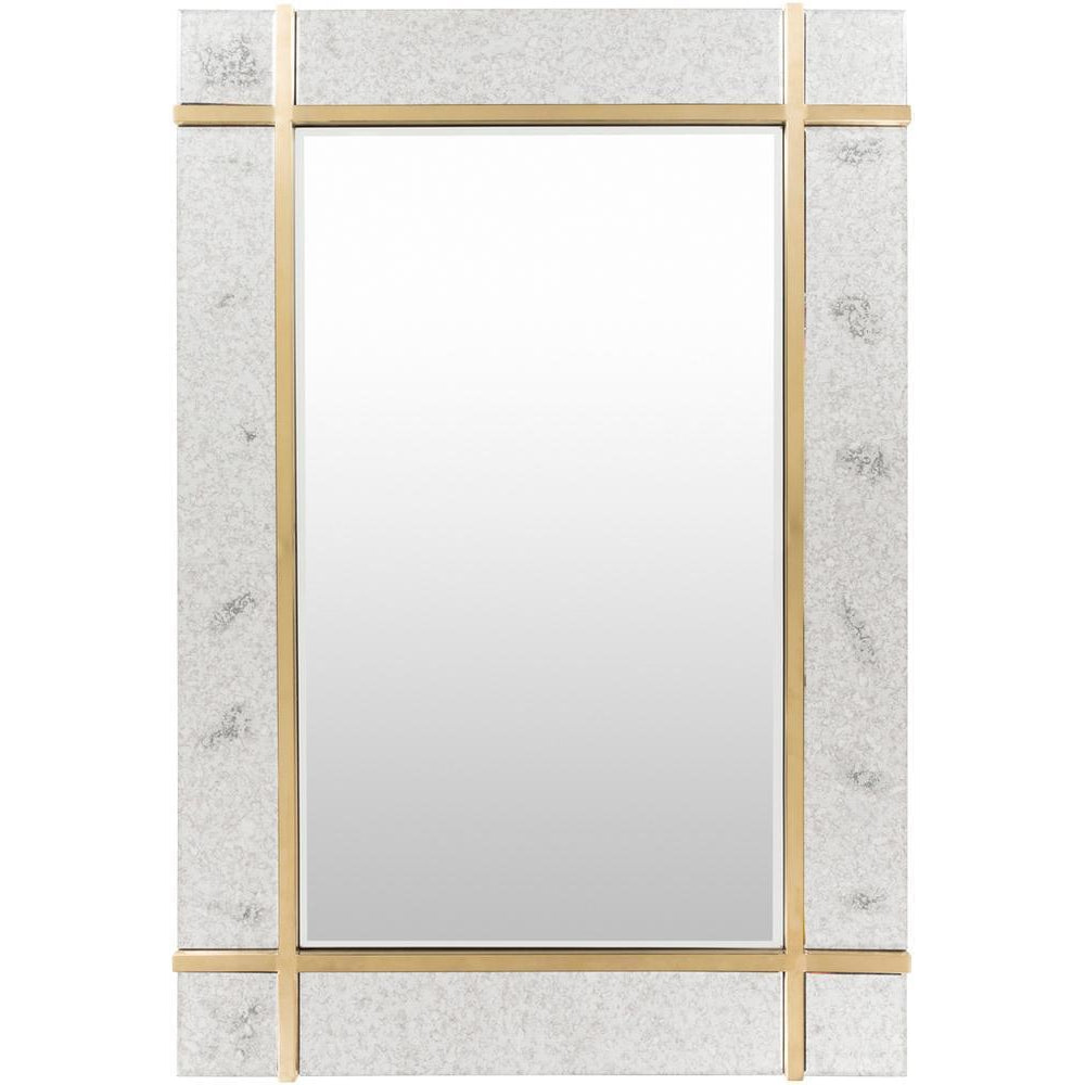 Minimalist Rectangular Gold Finished Antique Window Mirror-Coastline Mirrors