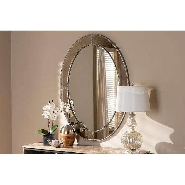 Modern Contemporary Antique Silver Finished Oval Accent Wall Mirror-Coastline Mirrors