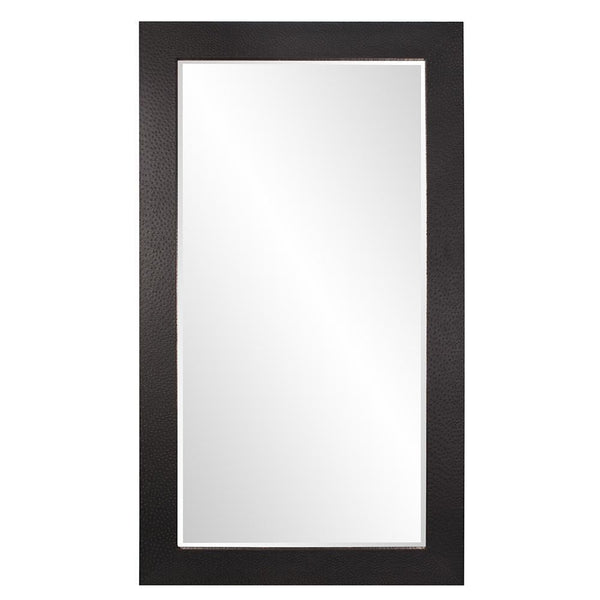 Nora Rectangular Extra Large Black Faux Leather Mirror-Coastline Mirrors