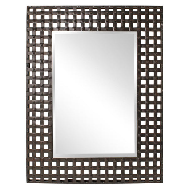 Sansa Rectangular Antique Bronze Metal Grid Mirror-Coastline Mirrors