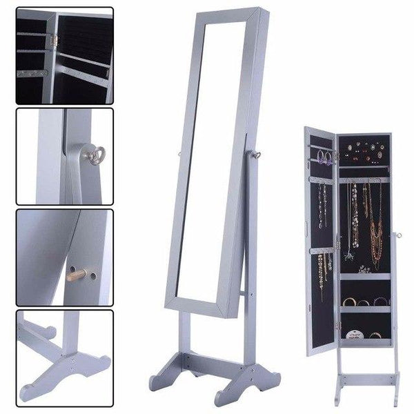 Silver Mirrored Jewelry Armoire-Coastline Mirrors