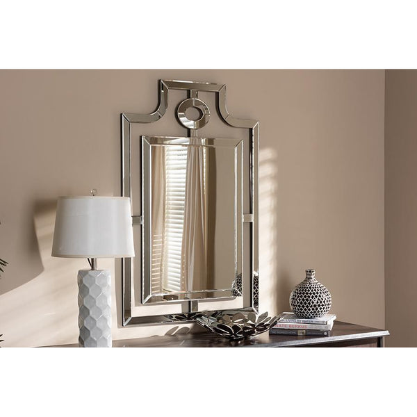 Tokyo Modern Silver Finished Pagoda Wall Accent Mirror-Coastline Mirrors