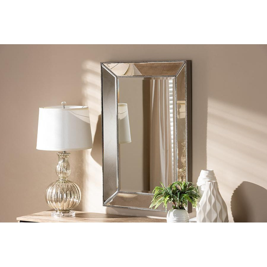 Traditional Antique Rectangle Silver Finished Accent Wall Mirror-Coastline Mirrors