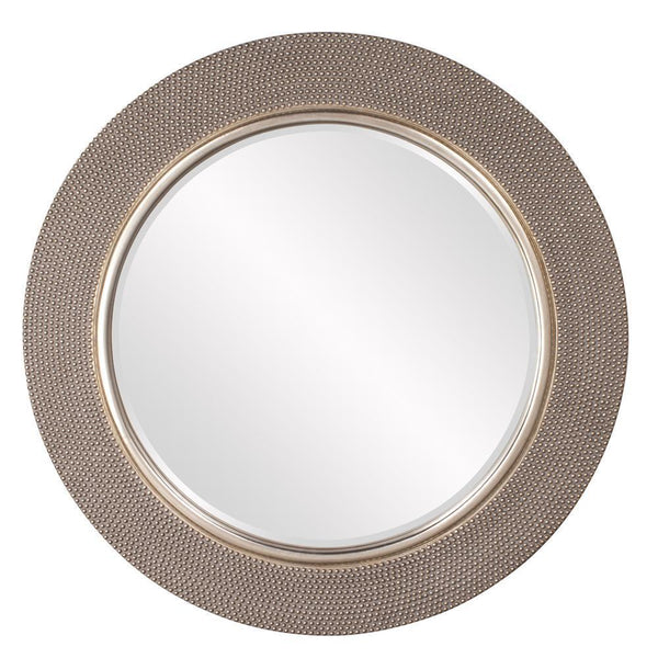 Valentina Large Round Beaded Champagne Silver Mirror-Coastline Mirrors