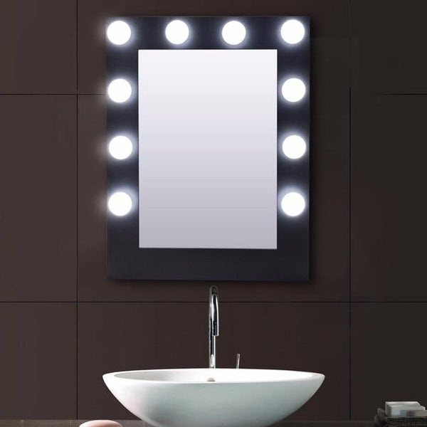Vanity Lighted Black Table Wall Mirror-Coastline Mirrors