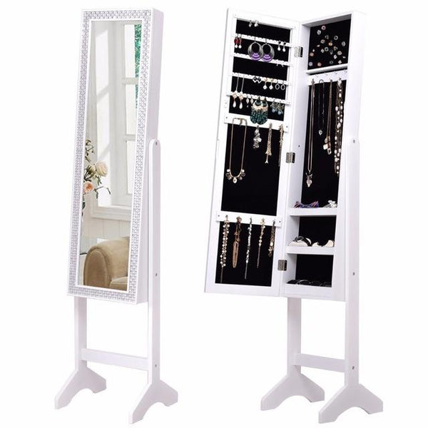 White Diamond Mirrored Jewelry Cabinet Armoire-Coastline Mirrors