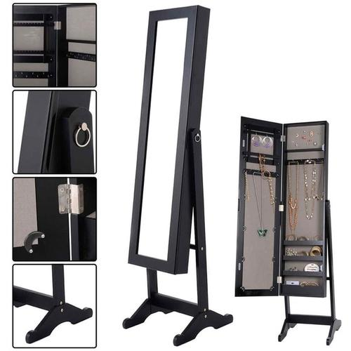 Wood Finished Mirrored Jewelry Armoire-Coastline Mirrors
