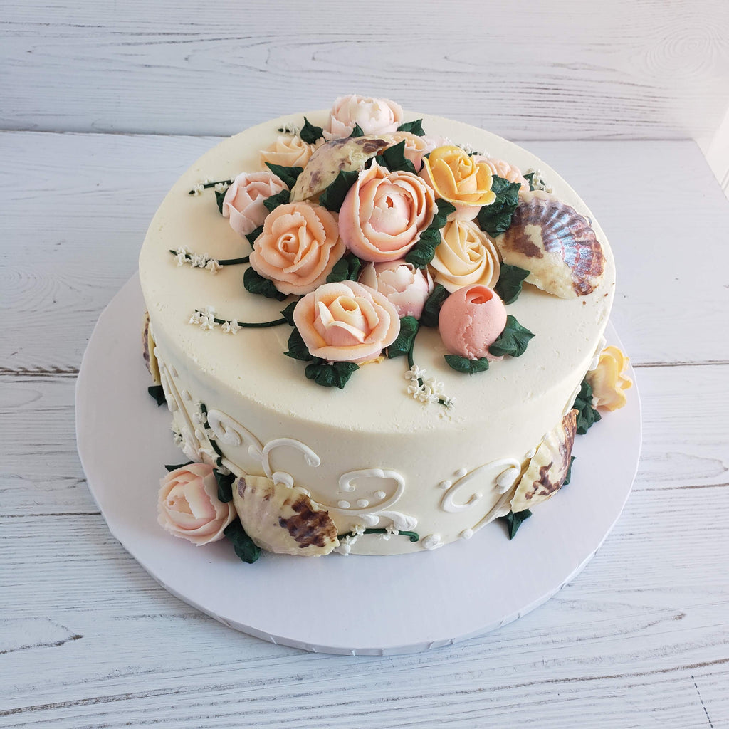 Flowers and Shells Cake