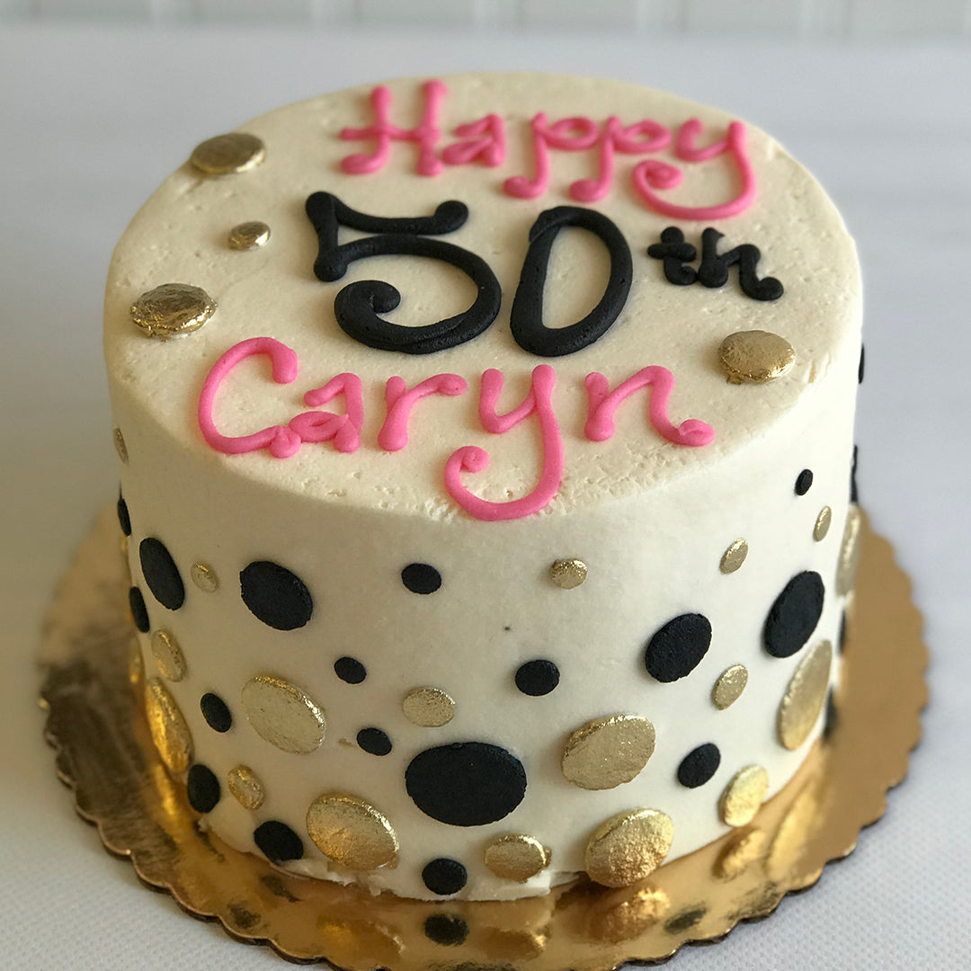 Black and Gold Polka Dot Cake