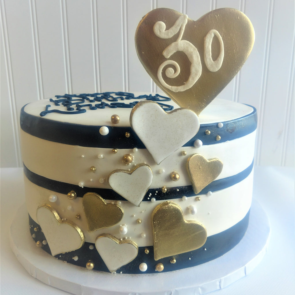Black and White Stripe with Fondant Hearts