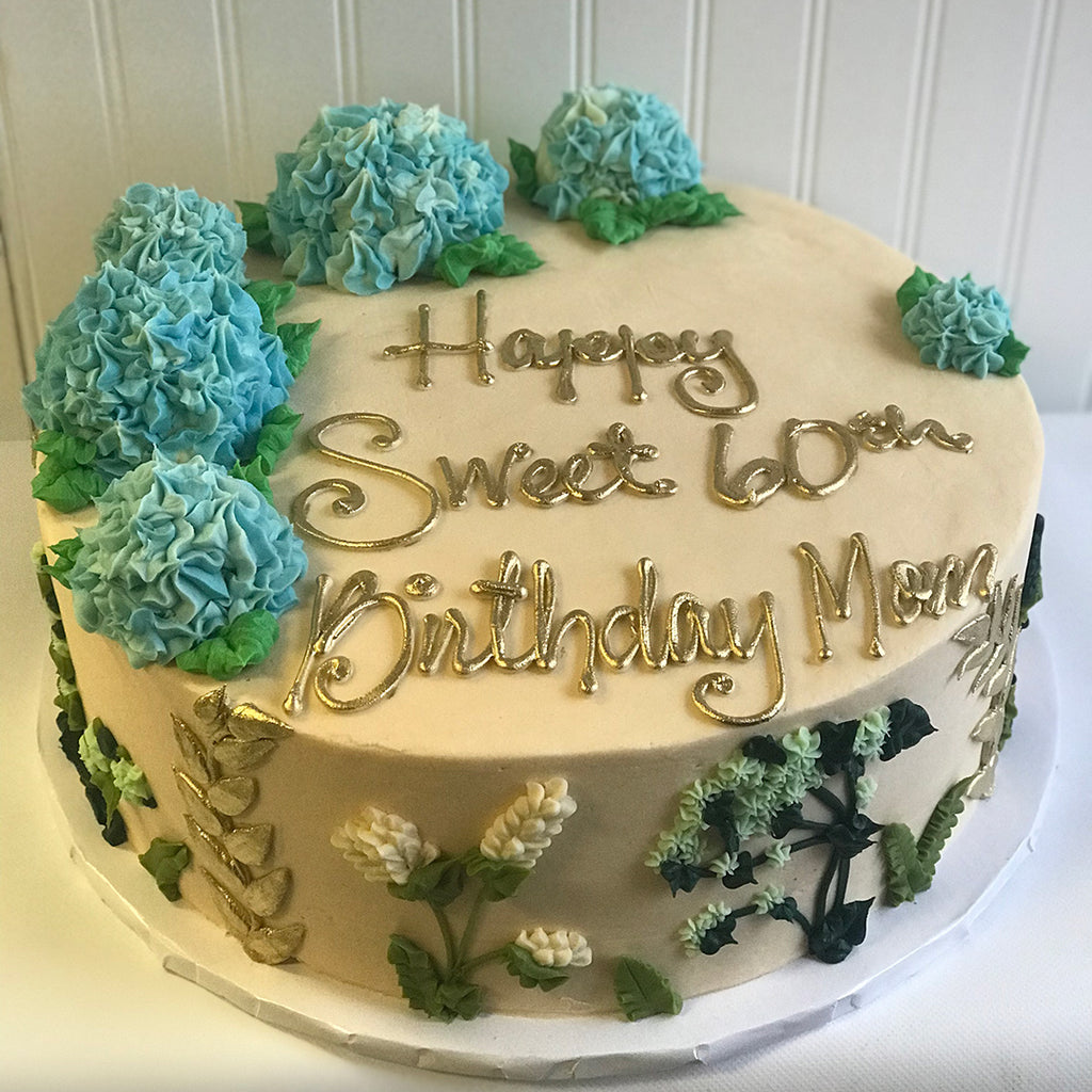 Blue Hydrangeas and Ferns Cake