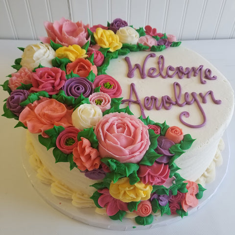 Bright Cascading Flowers Cake