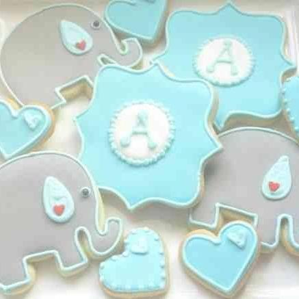 Baby Elephants, Hearts and Plaques Sugar Cookies