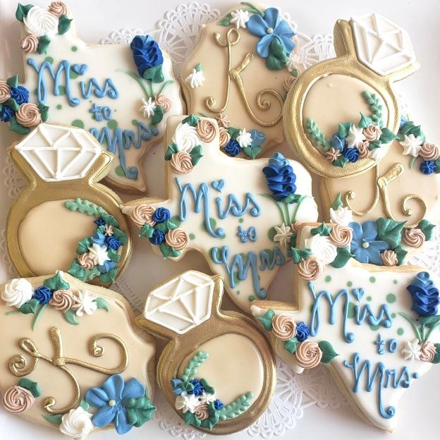 Diamond Ring and State of Texas Wedding Sugar Cookies