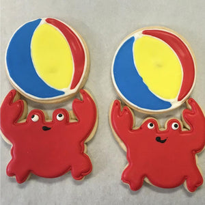 Crab with Beach Ball Summer Cookies