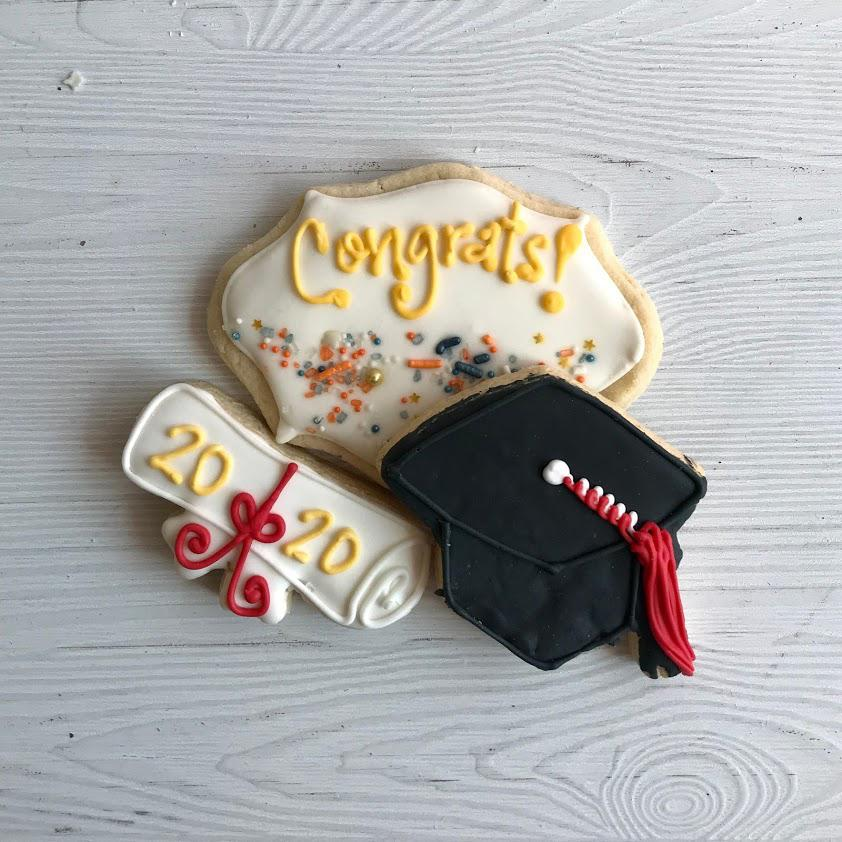 Graduation Diploma, Cap, and Banner Sugar Cookies