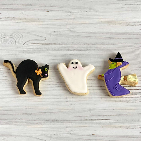 Halloween Witch, Ghost and Black Cat Sugar Cookie Set