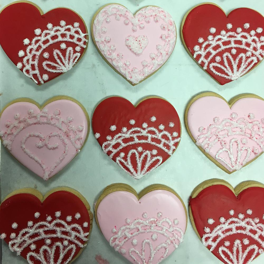 Lacey Hearts Sugar Cookies