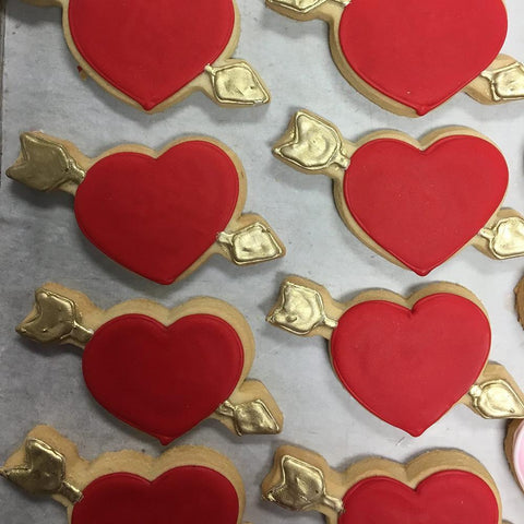 Red and Gold Heart Sugar Cookies