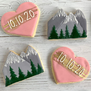 Hearts and Mountains with Event Date and Gold Accents Sugar Cookie Set