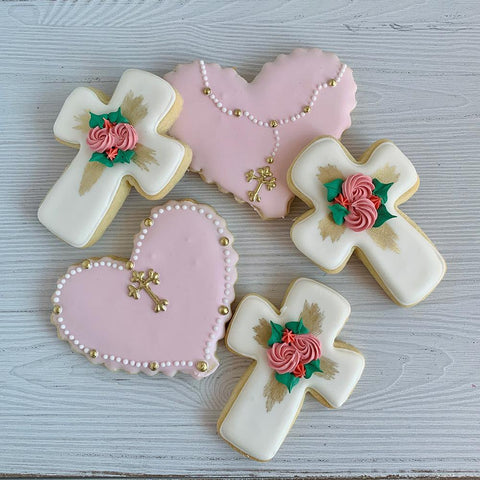 Religious Hearts and Crosses with Gold Accent