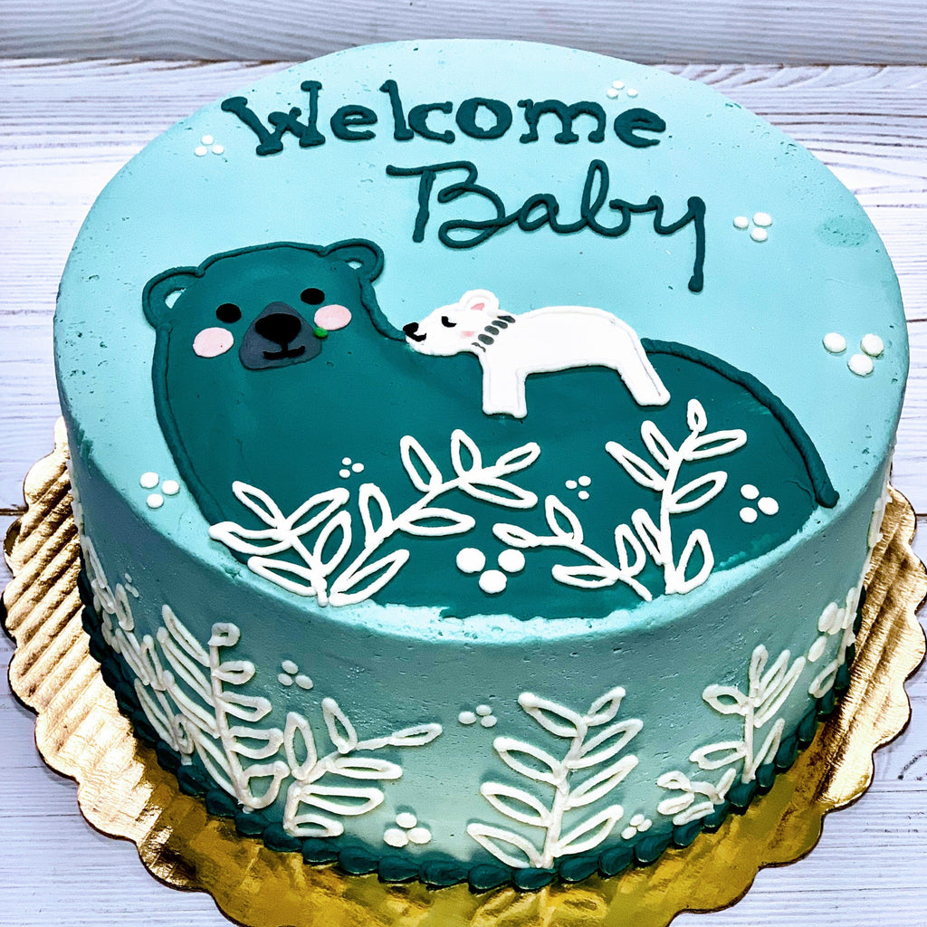 Winter Mama Polar Bear with Baby Cake