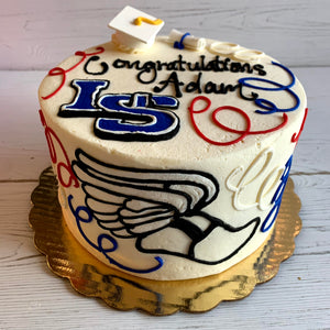 Graduation Logos Cake (Lincoln Sudbury with Sports Logo)