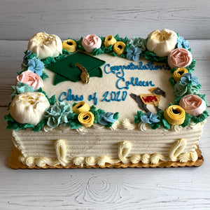 Floral Graduation Cake with Grad Cap and Logo