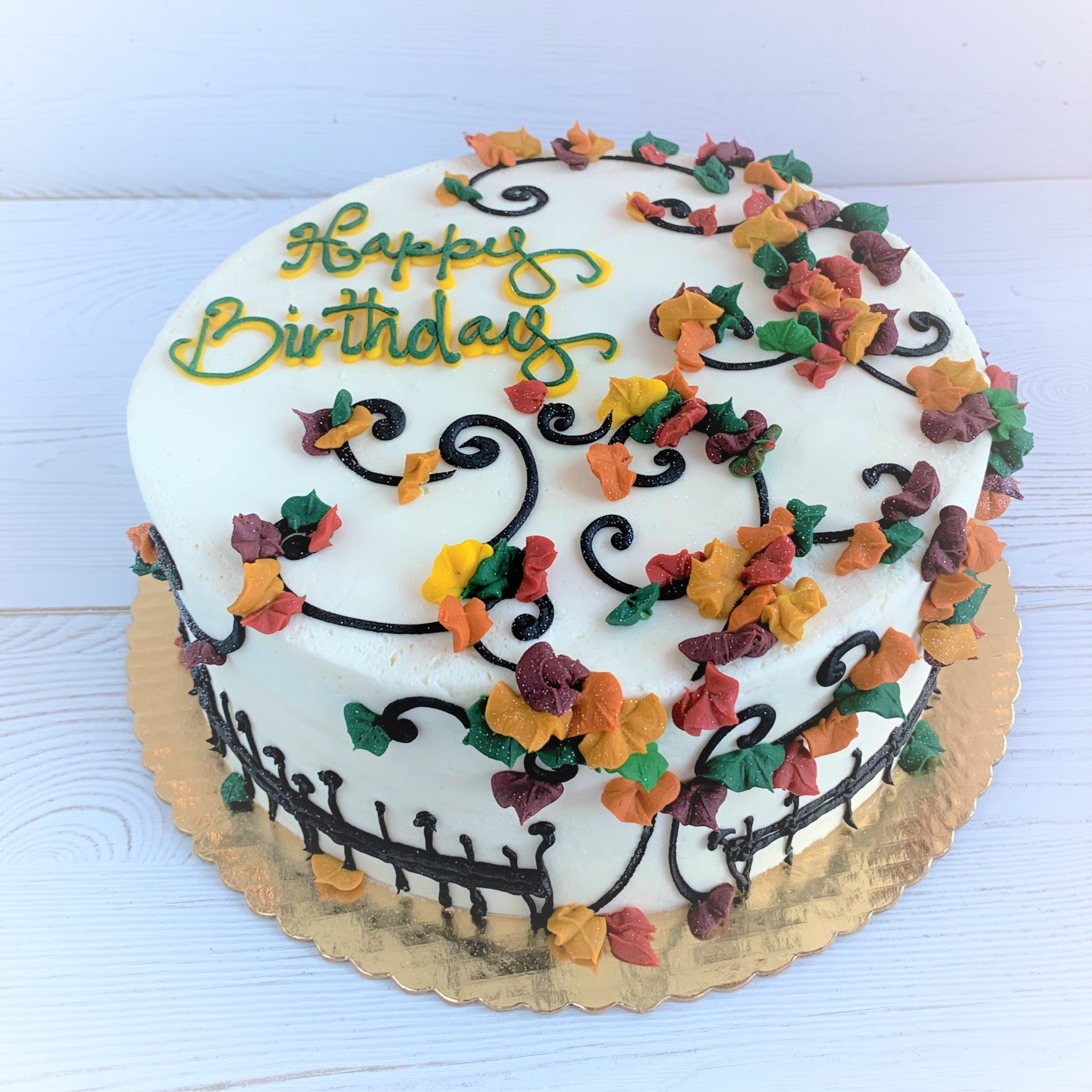 Autumn Leaves with Fence Cake