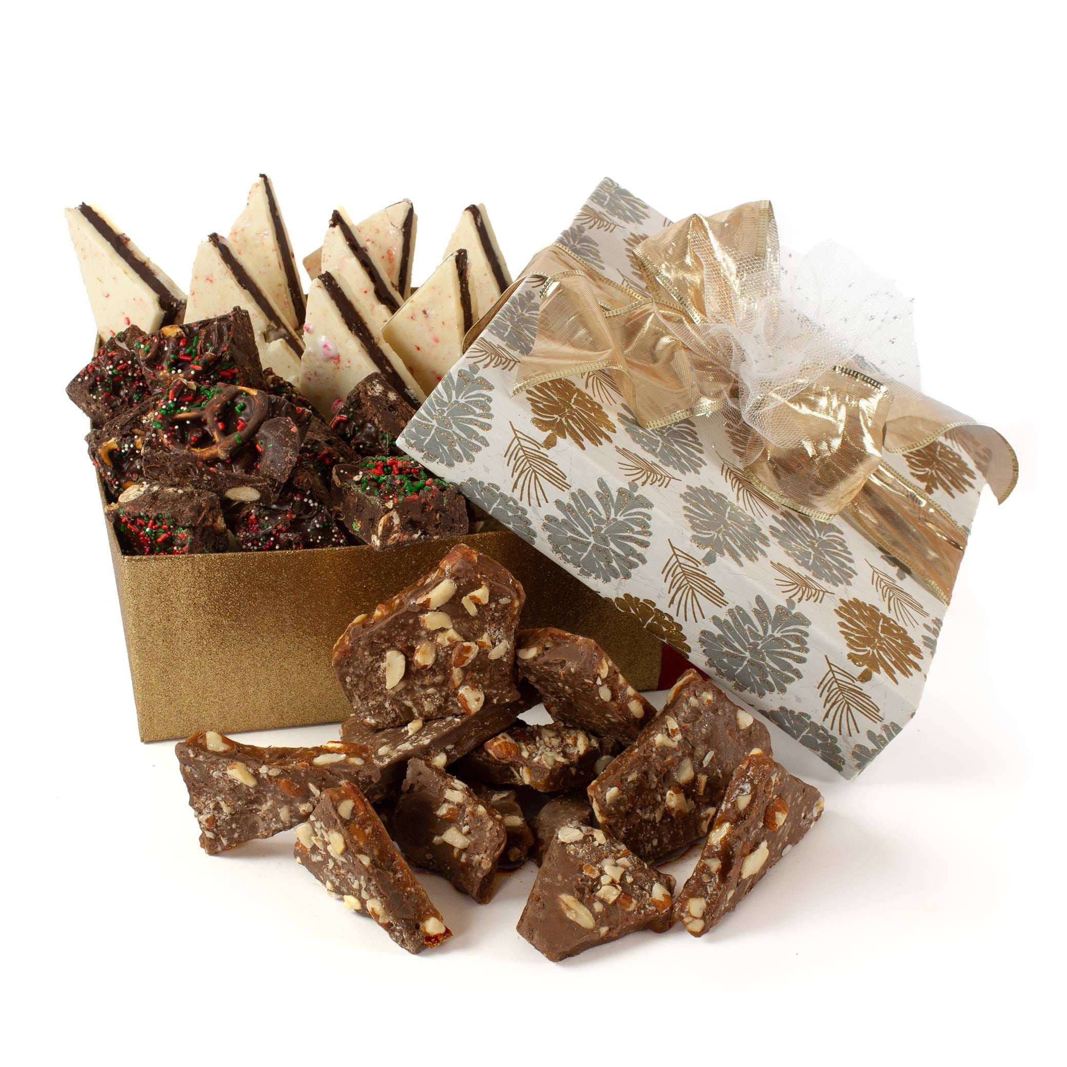 Glitter Pinecones Holiday Bark Gift