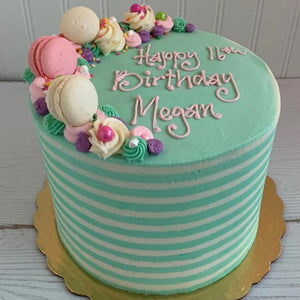 Teal Stripes Cake