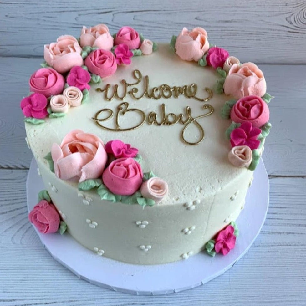 Welcome Baby with Pink or Blue Tea Roses