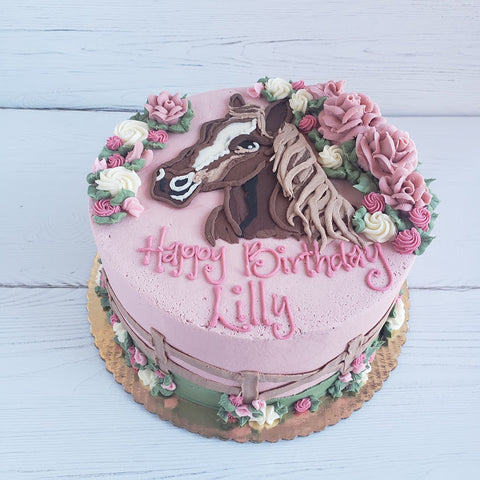 Horse and Flowers Birthday Cake