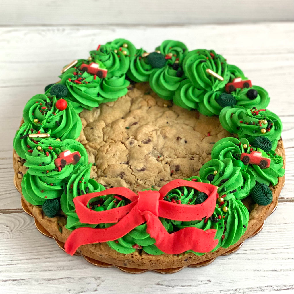 Decorated Wreath Chocolate Chip Cookie Cake