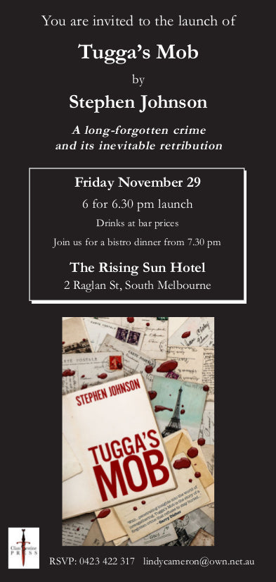 Invitation to the book release of Tugga's Mob by Stephen Johnson