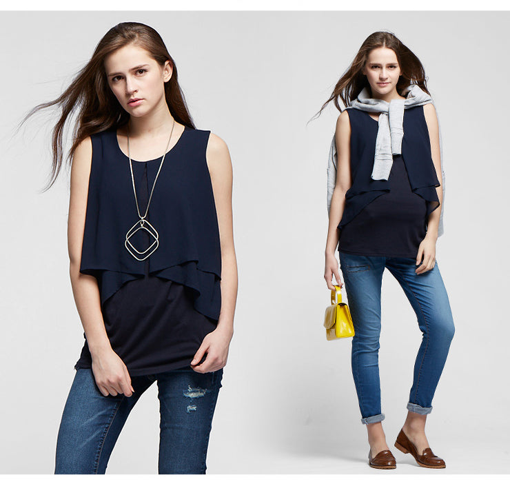Chiffon Layers Sleeveless Maternity & Nursing Top