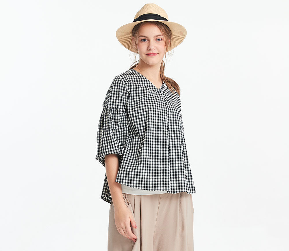 Plaid Loose Top with Maternity & Nursing Vest