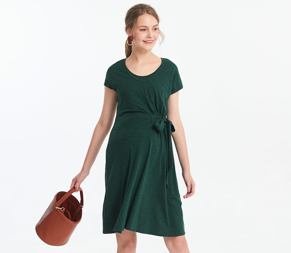 Maternity & Nursing Side Tie Dress
