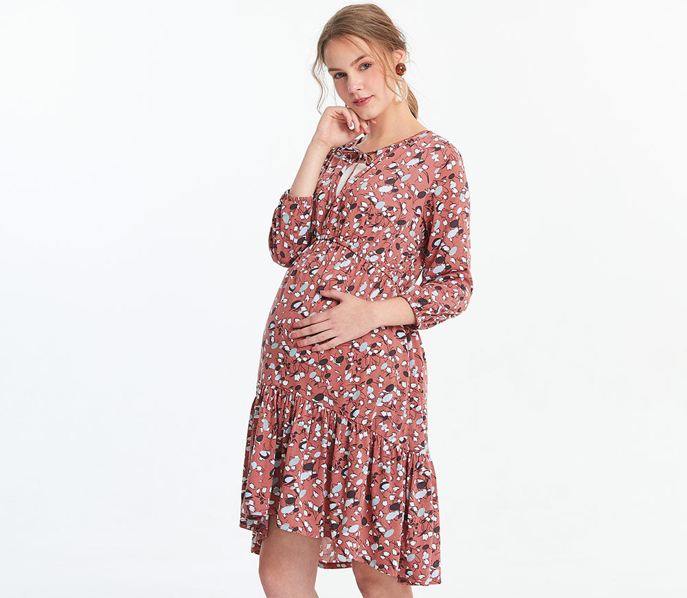 Ruffle Maternity & Nursing Dress