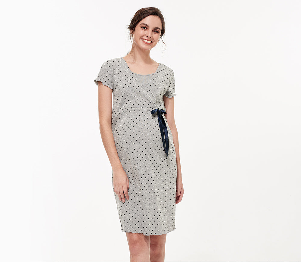 Dainty Dots Maternity & Nursing Pyjama Dress with Ribbon