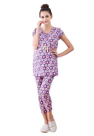 Minnie Dot Pattern Maternity & Nursing Pajamas/ Sleepwear Set