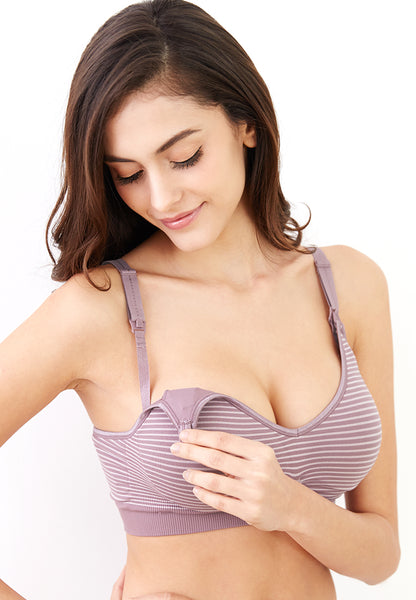 Second Skin Seamless Maternity & Nursing Bra in Stripes