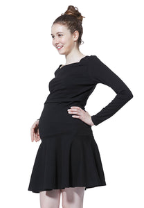 Square Neck Classic Maternity & Nursing Little Black Dress
