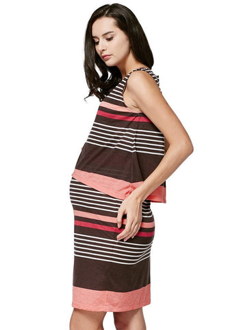 Stripe Sleeveless Double Layer Maternity & Nursing Dress