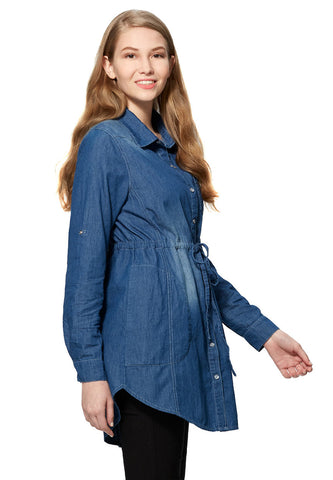 Cotton Maternity & Nursing Shirt Dress