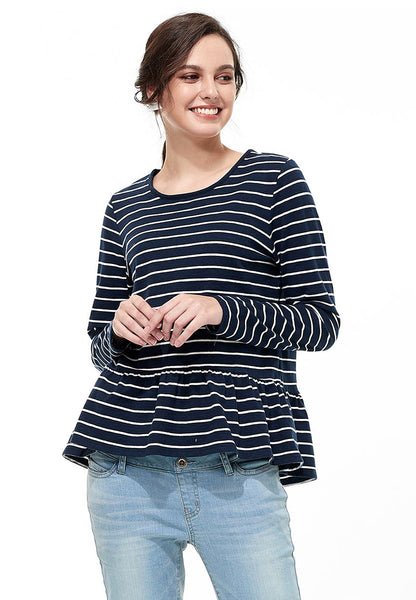 Basic Stripe Nursing Top with Pleated Hem