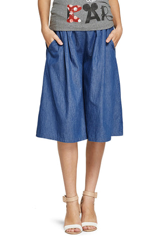 Wide Leg Denim Maternity Shorts