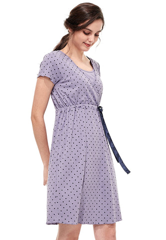 Dainty Dots Maternity & Nursing Pajama Dress with Ribbon