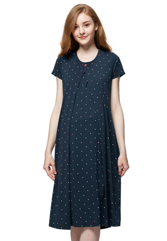 Mickey Dotty Maternity & Nursing Pajama Dress