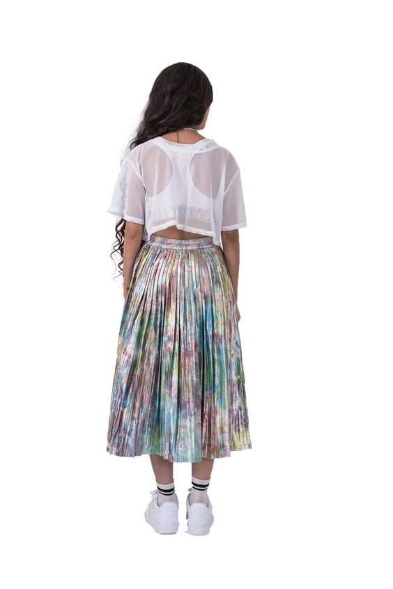 Back of women's shimmy shimma midi skirt in lurex